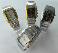 Freeshipping 1pcs New Stainless Steel Rectangle Analog Men Man Watches Wristwatches 073(4 Colors)