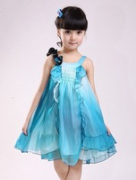 Free shipping Wholesale (5 pieces/lot) 2013 new Girls Summer chiffon dress Kids sleeveless performance princess dance dress