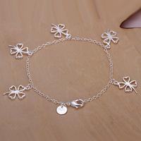 H185 Wholesale! Free Shipping Wholesale 925 silver bracelet, 925 silver fashion jewelry Hollow Four-leaf Clover Pendant Bracelet