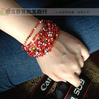 5 Pcs! Fashion Beautiful Girl's  Bohemia Small Beads Multi-layer Bracelet Multi-colored Beads Cloth