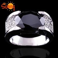 Sz9/10/11/12   jewellery  Luxury  black sapphire men's 14KT white Gold Filled Ring