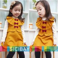 Kids Autumn Winter Clothes Girls winter Tank Dress Baby Bows Ruffles Collar Design sweet girl dresses K2083
