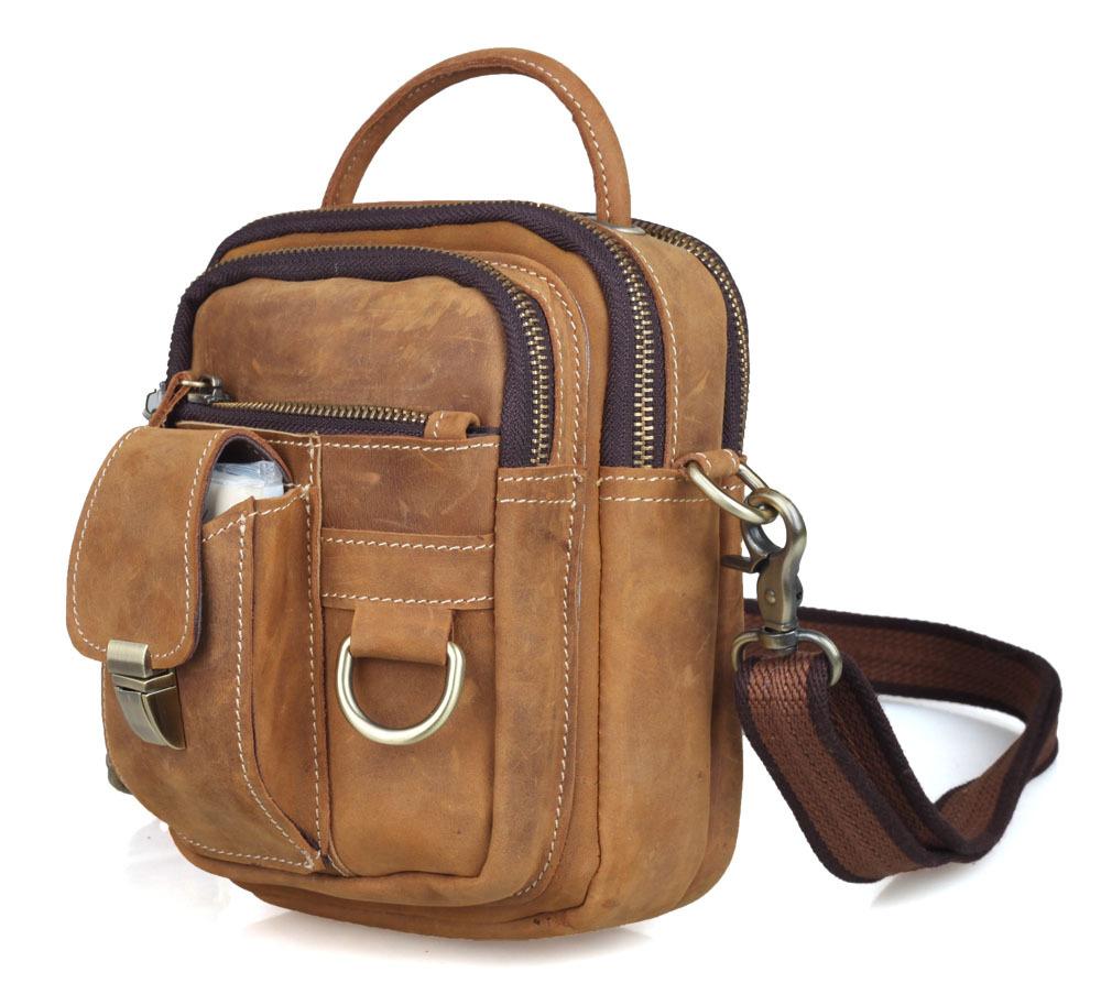 Retro leather sling messenger bag men's fanny pack tote handbag brown 3 way sport bag free shipping Tiding 30043(China (Mainland))