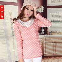 2012 spring and autumn women's top basic shirt female plus velvet polka dot t-shirt sweet crochet beading long-sleeve