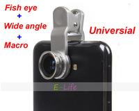 Universal 3 In 1 Mobile Phone Lens kit Fish Eye lens + Macro + Wide Angle camera Kit Set for samsung galaxy s3 s4 n7100 HTC LG