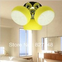 Wholesale lights design items 110v 220v e27*3 lamp holder iron glass lemon ceiling lamps for kids room home decoration lighting