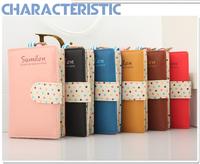 New 2014 Vintage Polka Dot Short Design  Women Girl Wallet  Fashion Color Block Organizer Bag Wholesale Retail Free Shipping