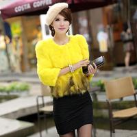 rabbit fur quarter sleeve fur women's design short outerwear female Natural fur coat free shipping