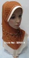 New style gauze double layer bead necklace muslim hijab,designer fashion scarfs,islamic necklace pendant hijab free shipping