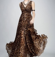 new summer women  sexy leopard V neck long chiffon dress / Bohemian fashion women leopard print dresses