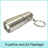 TrustFire Mini-02 CREE XML XM-L T6 LED Flashlight Keychain Pocket Torch Light 300Lumens + 3V CR123A Battery Drop Shipping