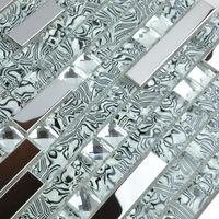 Interlocking Mosaic Tiles Wall Stickers Diamond Crystal Glass & Stainless Steel Blend Metallic Tile Backsplash Bathroom Floor