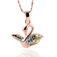 18KGP N235 Swan Necklace 18K K Gold Plated Fashion Jewellery Nickel Free Necklace Rhinestone Crystal SWA Elements