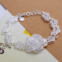 H244 Free Shipping Wholesale 925 silver bracelet, 925 silver fashion jewelry Big Flower Bracelet  244