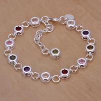 H259 Free Shipping 925 Silver Bracelet Fashion Jewelry Bracelet The round color stone bracelet  259