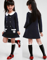 free shipping 2013 new preppy style Doll brought Long sleeve dress Children's lace flower pocket dress