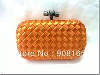 free shipping 100% silk woven bag women fashion  evening clutch bag orange lady handbags