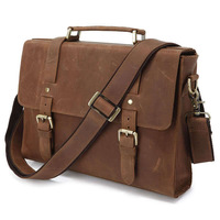 Classic High-Quality Fashion Vintage Crazy Horse Leather Men's Brown Briefcases Handbag Shoulder Messenger Crossbody Bag Purse