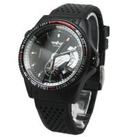 2013 New Design Fashion Brand Winner Black Rubber Band Sports Automatic Mechanical Watch Men Best Gifts Wholesale Free Shipping