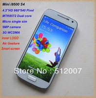 "Air Gesture Smart Screen I9500 Mini S4 Phone Android 4.2 3G Smartphone 4.3""960*540 MTK6572 Dual Core Cell Phone EMS Shipping"