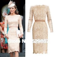Spring 2014 Top Quality Kate style, Elegant Long Sleeve Lace Dress
