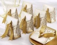 100 Pcs Silver Ribbon Wedding favour Party Candy Box Favor Gift Boxes wedding box free shipping
