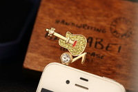 New Rushed 2014 Full Planted Diamond Guitar Dust Plug for Mobile Phone Accessories Sp/mix $5 Order Free Shipping B063