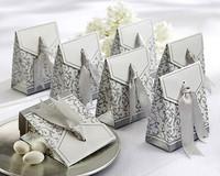 100 Pcs Silver Ribbon Party Candy Box Favor Gift Boxes wedding box free shipping Wedding favour Box