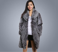 High Quality Genuine Silver Fox Fur Coat Luxury Fur Women Long Jackets Outerwear Brand Winter Overcoat Fur ems free shipping