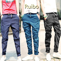 Men Fashion Clothing Low Crotch Harem Pants Black/Blue/Purple Skinny Capri Pants for Men High Waist Linen Pants Free Shipping