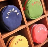 2069 Korea cute coin purse canvas bag Korean cute candy colored canvas round coin pocket  free shipping