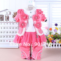 Rare Edition child girls baby zipper coat three separate set clothing sets,Baby/infant jackets t-shirts+pants Gift for baby girl