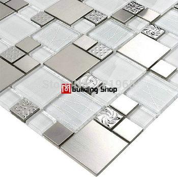 Glass mosaic tile backsplash SSMT110 silver metal mosaic stainless steel mosaic tiles sheet stainless steel mosaic glass tiles