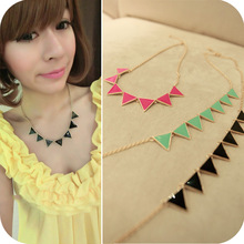 Min. order is $10 (mix order) free shipping 2013 new jewelry european fashion accessories enamel colorful triangle necklace 20g