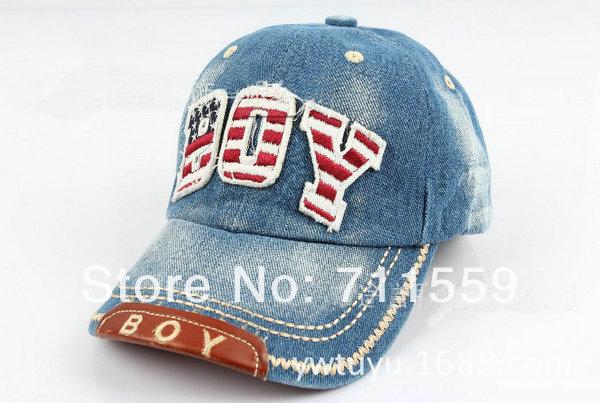 2014 new kids COTTON caps boys baseball caps summer jean hats children caps girls baseball cap 3-8ages(China (Mainland))