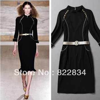 Women Dresses Fashion 2013 Black Vintage Bandage DressWomen Pencil Bodycon 3 4 Sleeves Lady Formal Winter black  Dress AW13D006