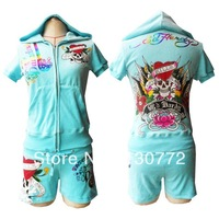 Free Shipping Fashion Woman Sexy Short Sleeve Sport Suit Ladies Hoodie Short Set Sportswear SizeS,M,L,XL One Set Promotion