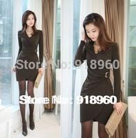 2014 women club dresses/autumn & winter long sleeve vintage empire waist V-collar Slim full bodycon desigual Dress/M~XL/WtE
