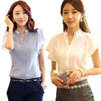 korean new OL blouse fashion short sleeve women shirt casual female chiffon top chifon feminino blusas camisas femininas