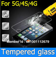 Free by DHL Glass Premium Tempered Glass Screen Protector Glass Film for iPhone 4 4S 5 5G With Retail Package