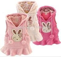 1pcs Girls vest skirt  autumn childer female baby jacket skirt coral cashmere dress Bunny Rabbit free shipping LJ211