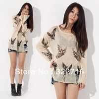 Tops 2013 New Fashion Gradient Sale The Knitted Cardigan Women Crochet top Sweater Outerwear Hole Butterfly Pattern Pullover