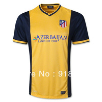 Hot 13/14 atletico madrid away yellow top thai quality soccer football jersey, fans version soccer uniforms embroidery logo