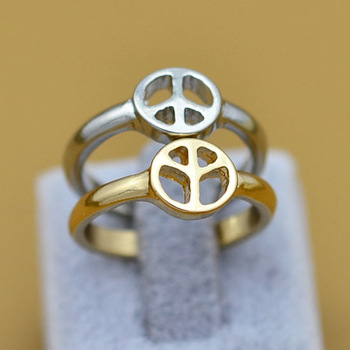 New !Fashion jewelry gold plated Peace sign finger ring nice gift for women girl  wholesale R714