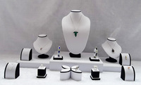 Free Shipping Wholesale Jewelry Display Showcase Mix Jewelry Stand Kit Round White PU Black Velvet