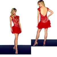 Free Shipping Sheath Red Jewel Appliqued Ruffled Tulle Keyhole Back Party Dresses