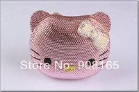 free shipping 5 colors 2014 new high-quality HELLO cute crystal handbag luxury crystal evening  bag animal print handbags