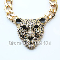 2013 New Iced Out JAGUAR Pendant Fashion Crystal Leopard Tiger Head Link Chain Necklace Cute Charm Alloy Pendant  Jewelry, N0165