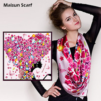 Latest Design Floral Print Crepe Satin Silk  Square Women's Scarf