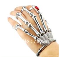 Free shipping Silver Punk Goth Skeleton Skull Slave Bones Talon Hand Bracelet Ring Gaga Style Chain